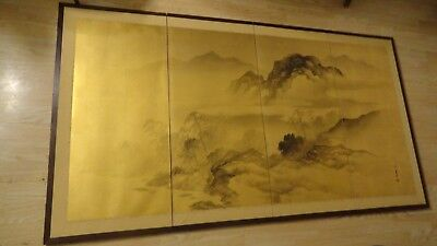 japanese chinese  floor screen panel hand painting gold  on silk 65 3/4 x 36