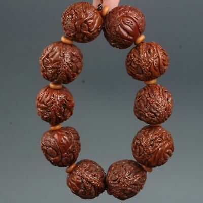 Chinese Exquisite Hand-carved Pine landscape carving walnut bracelets