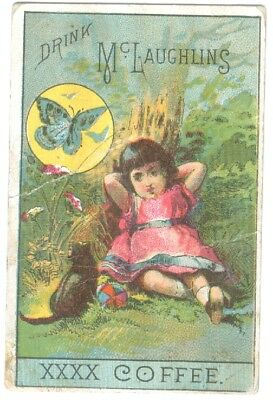 """Victorian Trade Card-McLaughlin's Coffee """" Child With Cat & Butterfly """" 2""""X3 1/4"""