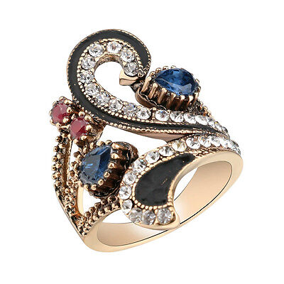 Ruby resin wrap pave setting red crystal rhinestone women statement fashion ring
