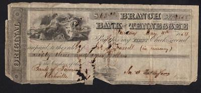 1854 Bank Of Tennessee Check Imperfect