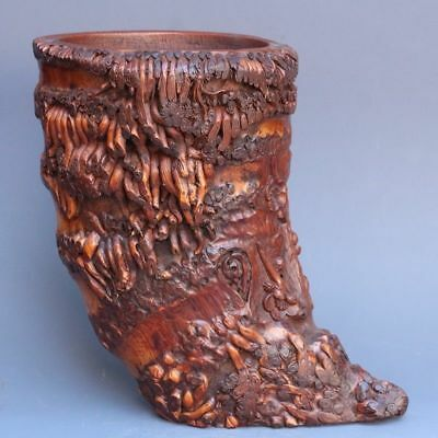 Chinese Exquisite Hand-carved flower carving Bamboo root