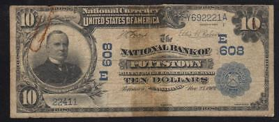 Imperfect 1902 $10 POTTSTOWN, PA National Currency