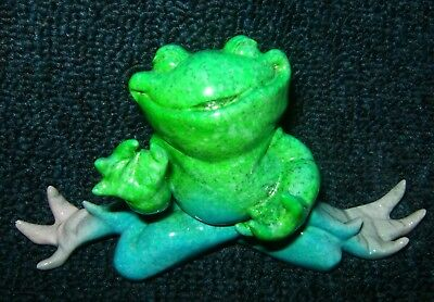 "Kitty's Critters ""ZEN"" FROG ~Polyresin Figurine ~6""x 3""x 2.5"" ~Green-Blue-Pink"