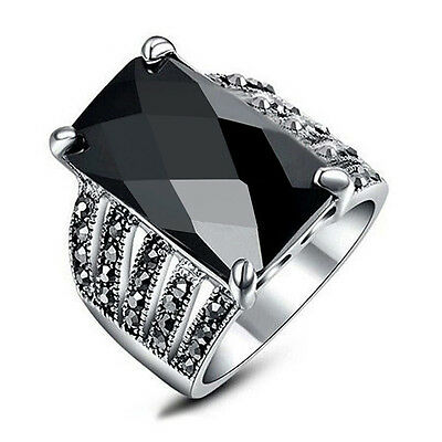 Modern chic elegant black onyx marcasite ring women ring jewelry gift for her!