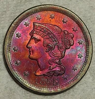 Gorgeous Brilliant Uncircualted 1855 Large Cent! Stunning, electric toning!