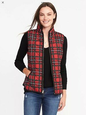 NWT OLD NAVY WOMEN RED MULTI PLAID MOCK NECK QUILTED VEST SIZE M sold out medium
