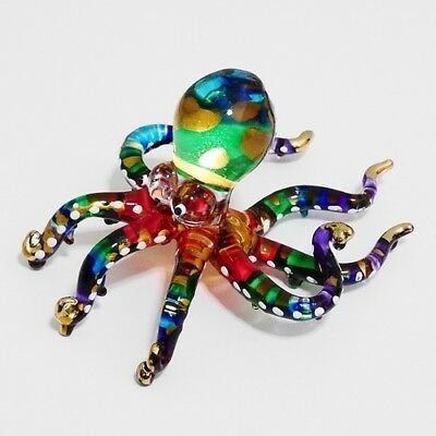 Octopus Animal Figurine Hand Paint Blown Glass Art Decorate Collectible Gift 1