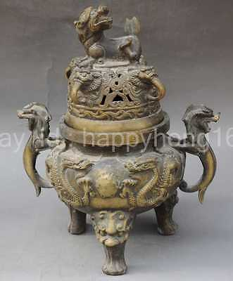 Chinese collection ancient copper decoration dragon incense burner