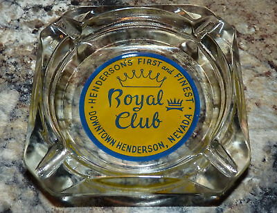 """Vintage ROYAL CLUB Glass Ashtray """"HENDERSON'S FIRST AND FINEST"""" Casino 1950's?"""