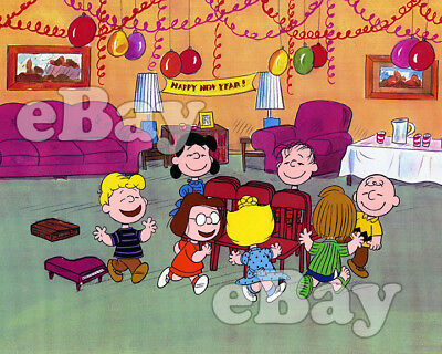 Rare! HAPPY NEW YEAR CHARLIE BROWN Cartoon Color TV Photo CHARLES SCHULZ
