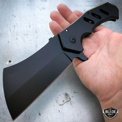 "10"" GIANT TACTICAL Assisted Open Pocket Knife CLEAVER FOLDING Blade BLACK NEW"