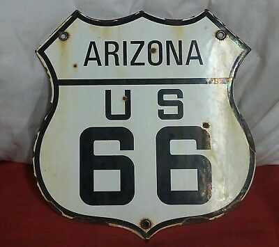 ARIZONA ROUTE US 66 HISTORICAL VINTAGE HIGHWAY PORCELAIN SIGN 12 x 12 inches