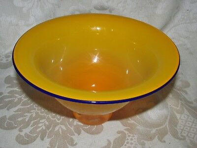 Art Glass Buttercup Yellow Purple Rim Footed Vase Bowl Crown  Base Mark 20CmW