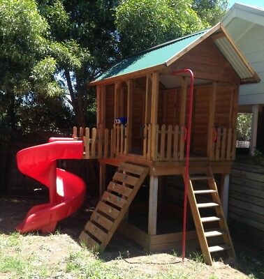 Jumbo Fort with Tornado Slide Country Cubbies Cubbyhouse cubby
