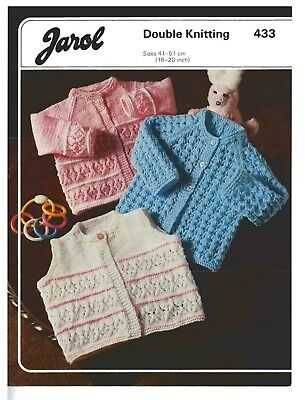 """BABY CLOTHES KNITTING PATTERN JAROL # 433  *COPY*  16-20"""" Chest   8ply"""