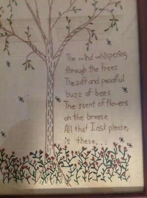 Rustic Country Framed Embroidery Picture