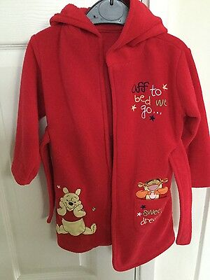 disney red winnie the pooh/tigger boys/girls/unisex 12-18 months dressing gown