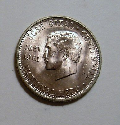 1961 Philippine 1/2 Peso  CHBU   Minted in the US.   .900 SILVER
