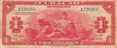 Curacao  1  Gulden  1942  P 35a  Series A Circulated Banknote R1217