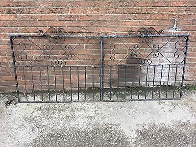 Pair Of Wrought Iron Gates Drive Way Two With Fixings Well Made Strong