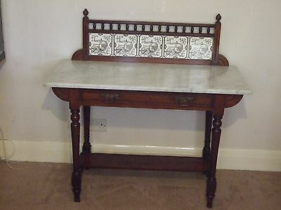 Antique 19th Century Mahogany Washstand With Marble Top