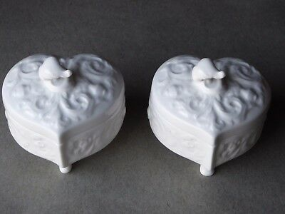 Vintage Pair of Crown Staffordshire Surrey Collection Heart Shaped Lidded Boxes