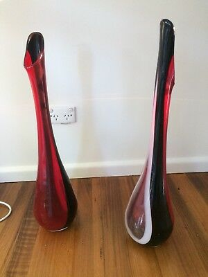 Two Glass Vases. Height 66 cm