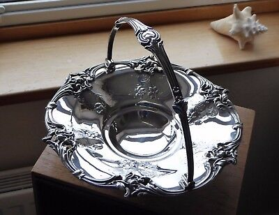 Antique Victorian Silver Plate Footed Swing Handle Cake Bread Fruit Basket