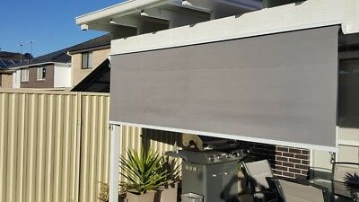 Outdoor Roll Down Awning Roller Blind Beige or Grey $179+