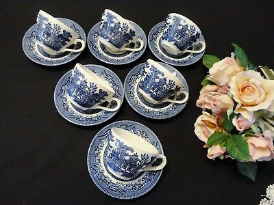 Six Churchill Blue Willow Pattern Duos Made in England