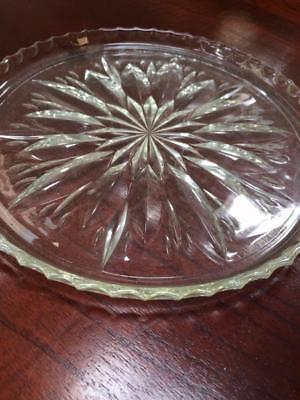Vintage Art Deco Round Pressed Glass Cake Tray