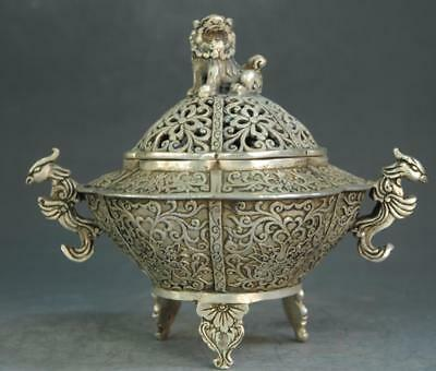 Collect Chinese Old hand engraving Silver Dragon Pi Xiu incense burner