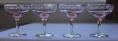 Set of 4 vintage pink champagne glasses with white embossed pattern - wedding