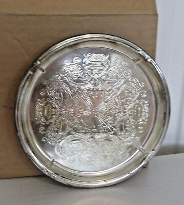 Vintage falstaff silver plated round tray boxed  georgian collection xmas gift