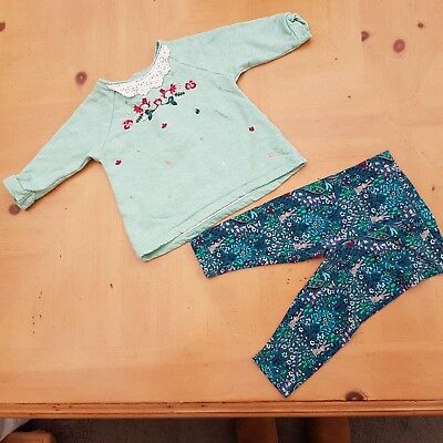 NEXT Baby Girl's Green Embroidered Top, Floral Leggings Set Size 3 - 6 Months