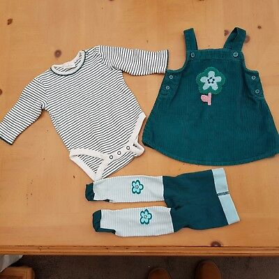 NEXT Baby Girl's Vest, Green Pinafore Dress, Tights Set Size 3 - 6 Months