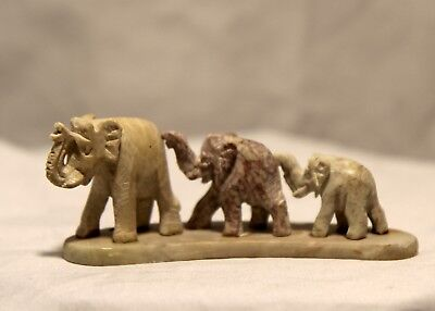 Vintage Hand Carved 3 Stone Elephants Figurine with Beautiful Colors