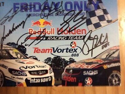 Team Vortex/ RBR Racing signed Bathurst Merch signing card Lowndes/Whincup