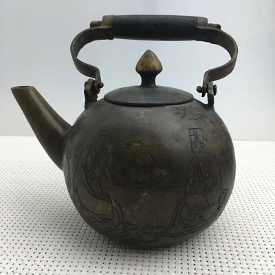 chinese old copper hand engraving figure and Word teapot flagon