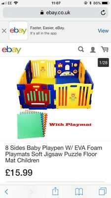 8 Sides Large Foldable Plastic Baby Playpen With Mats