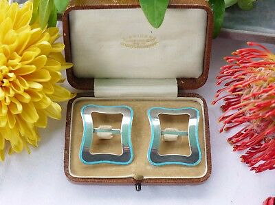 A Beautiful Boxed Pair Of Lawrence Emanuel Sterling Silver/enamel Buckles
