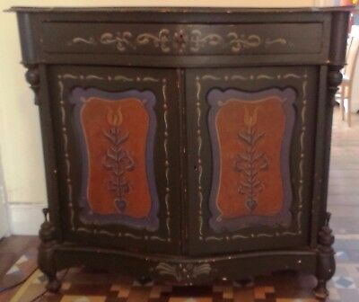 Dutch antique painted pine cupboard