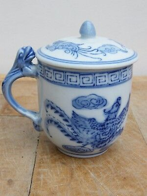 A  Fine Chinese Blue & White Dragon Cup With Lid Makers Mark To The Base