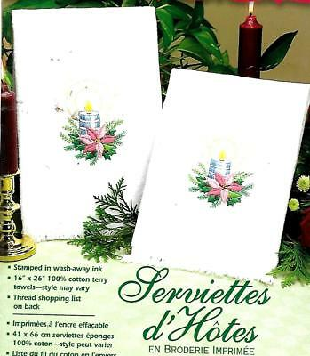 """ Christmas Candle"" quality Guest Towels to embroider.Stamped 100% cotton PAIR ."