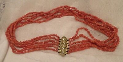 Vintage Victorian-Edwardian 6 Row Coral Collar Necklace Feature Gold Colour Clas
