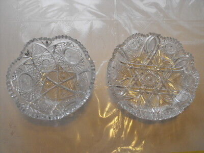 Antique Brilliant Cut Glass Bowls 9x4 & 10x2 12 inches star & Wheel Pattern