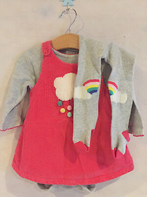 NEXT 3-6 Months 3 Piece Rainbow Outfit Dress Bodysuit and Tights