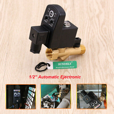 "AC 220V 1/2"" Automatic Electronic Timed Air Compressor Auto Drain Valve UK stock"