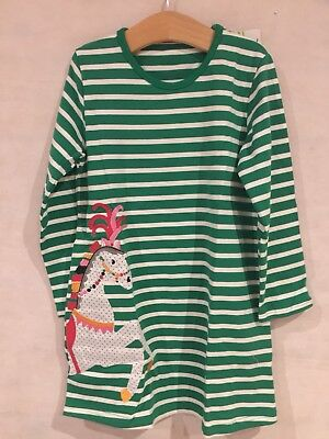 BNWT Carousel Horse With Plumes Green Striped Dress 3-4 Years
